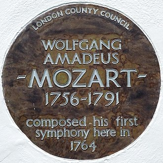 Ebury Street - Image: WOLFGANG AMADEUS MOZART 1756 1791 composed his first symphony here in 1764 (cropped)