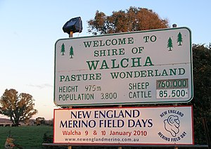 Walcha Shire - Welcome sign near the Shire boundary.