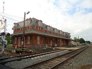 Wallingford station (Connecticut) - Temporary platform used in mid-2016