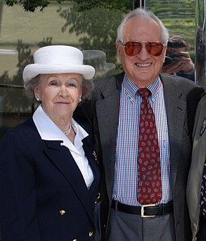 Wally Hickel - Wally Hickel and his wife, Ermalee Hickel, outside the Egan Center in Anchorage in 2008.
