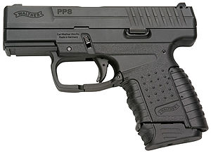 Walther PPS - Walther PPS, 9×19mm   Shown with mid-size magazine  (7 round for 9×19mm, 6 round for .40 cal.)