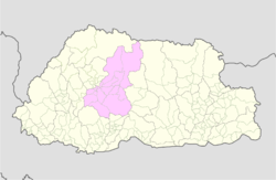 Map of Wangdue Phodrang District in Bhutan