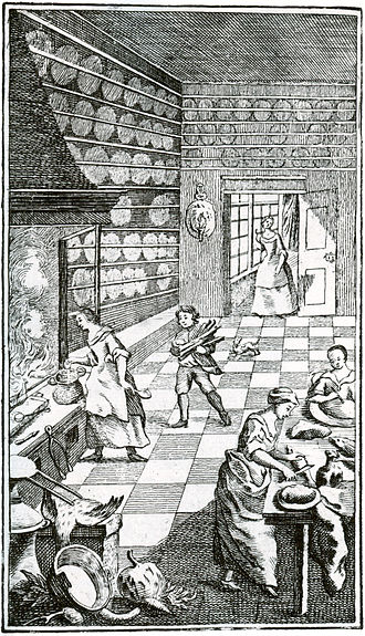 1755 in Sweden - An illustration from the famous cookbook of Cajsa Warg, Hjelpreda I hushållningen för unga Fruentimber. By Pehr Geringius, 1755.