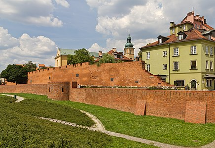 A piece of fortification wall in the Old Town of Warsaw, Poland