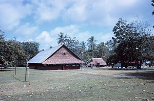 Teraina - Men's meeting house presided over by island chief, November 1968