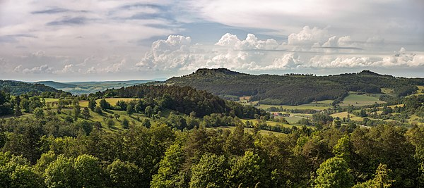 View from the Weinhügel in the Franconian Switzerland to the back of the Staffelberg