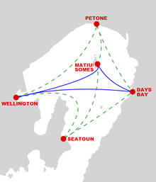 Ferry routes. Blue marks services that run every day; green is weekend-only services.