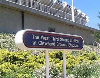 West 3rd (RTA Rapid Transit station) - Image: West 3rd Cleveland RTA sign