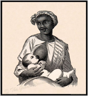 Wet nurse - Enslaved Black woman wet-nursing White infant