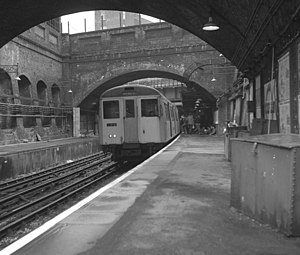 London Underground A60 and A62 Stock - A Stock at Whitechapel station in 1979