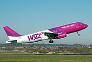 Airbus A320-200 of Hungarian low cost carrier Wizz Air takes off from London Luton Airport, England