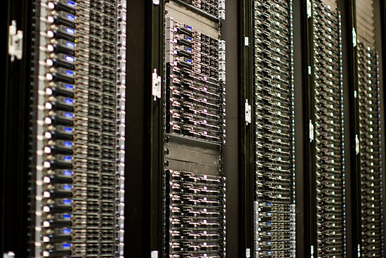 Multiple web servers may be used for a high traffic website; here, Dell servers are installed together being used for the Wikimedia Foundation. Wikimedia Foundation Servers-8055 35.jpg
