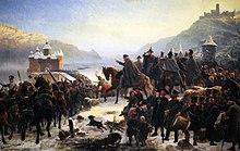 Blüchers Rheinübergang bei Kaub, Gemälde von Wilhelm Camphausen, 1860 (Quelle: Wikimedia)