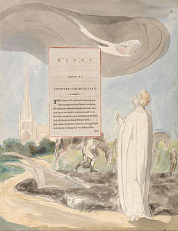 "William Blake - The Poems of Thomas Gray, Design 107, ""Elegy Written in a Country Church-Yard."" - Google Art Project"