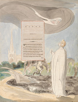 Elegy Written in a Country Churchyard - William Blake's watercolour illustration of the first stanza