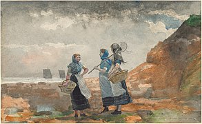 Winslow Homer - Three Fisher Girls, Tynemouth (1881).jpg