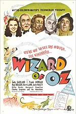 El Mag de Oz (The Wizard of Oz) Cartell Original de la pel.licula. Metro Goldwin Mayer 1939