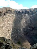 Inside the crater of Vesuvius.