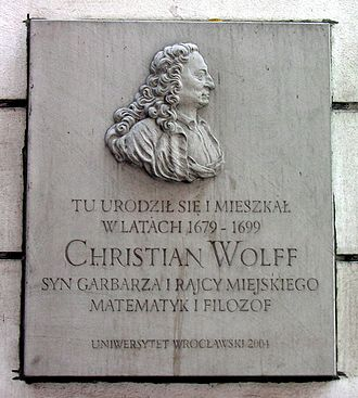 Christian Wolff (philosopher) - Plaque on building in Wrocław (Breslau) where Wolff was born and lived, 1679–99