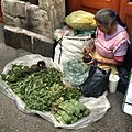 Woman selling herbs from tarp on sidewalk.jpg
