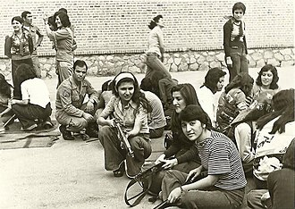 Civilian - A Sergeant of Iranian Army trains women about weapons, 1973.