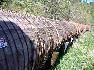 Stave (wood) - A wood stave pipeline for a hydropower application.