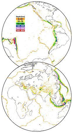 Carte de la sismicité mondiale depuis 1973. Source des données USGS-NEIC