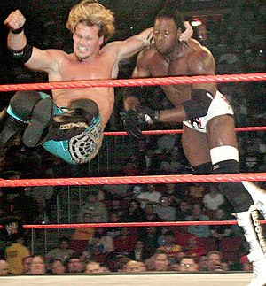 Professional wrestling throws - Chris Jericho performing a one-handed bulldog on Booker T.