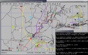 Automatic Packet Reporting System - Screenshot of an APRS display in XASTIR, an APRS software system for Linux/Unix.  Station positions, objects and items are displayed on a map overlaying counties around New York City.  Raw APRS messages are displayed in the terminal window on the lower right.