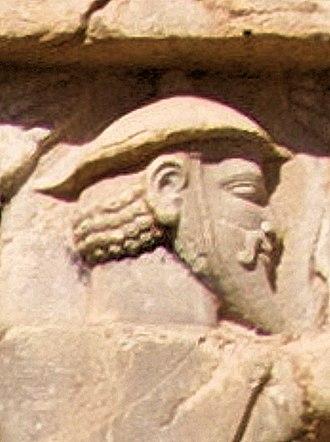 Megabazus - Image: Xerxes I tomb Ionian with petasos or kausia