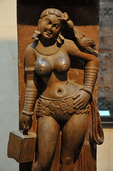 File:Yakshi - Railing Pillar - 2nd Century CE - Sand Stone - Mathura - Indian Museum - Kolkata 2012-11-16 1962.JPG