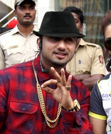 Yo Yo Honey Singh and Huma Qureshi at Celebrity Cricket League 2014 (cropped).jpg