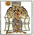 Young man offered to Tezcatlipoca Huitzilopochtli Toxcatl. Spanish report by Sahagún.jpg