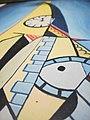 Zerbrochene Zeit mit Mauerecke an Turm, Uhrzeit 10 vor 12, Neuinterpretation von 1981 lumi-Kunst durch den Künstler Ludwig Micheler im Oktober 2019 während zeitlicher Desorientierung durch Grossmodernisierung, 2019-10-27.jpg