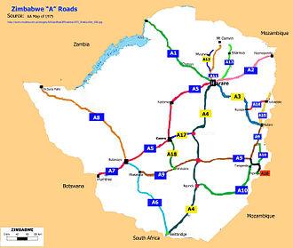 "Transport in Zimbabwe - Zimbabwe ""A"" classified roads as of 1975"