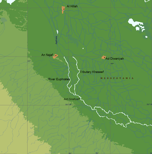 Battle of Ullais - Overview of the region where the Battle of Ullais was fought, showing the river Euphrates and its tributary the Khaseef (Iraq)