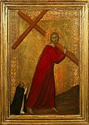 'Christ Bearing the Cross, with a Dominican Friar', tempera on panel painting by Barna da Siena , 1330-1350, Frick Collection.jpg