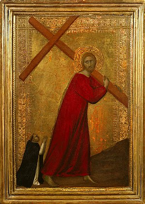 Barna da Siena - 'Christ Bearing the Cross, with a Dominican Friar', tempera on panel, 1330-1350, Frick Collection