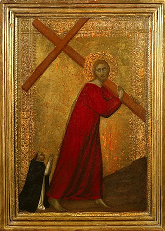 Christ Carrying the Cross - Image: 'Christ Bearing the Cross, with a Dominican Friar', tempera on panel painting by Barna da Siena , 1330 1350, Frick Collection