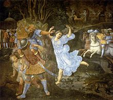 'Flight of Aeneas from Troy', fresco painting by Girolamo Genga, 1507-1510, Pinacoteca Nazionale, Siena.jpg
