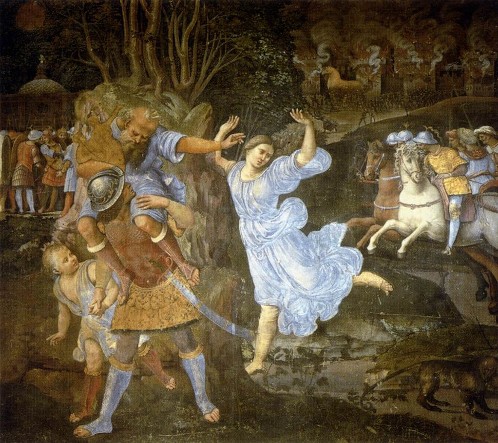 'Flight of Aeneas from Troy', fresco painting by Girolamo Genga, 1507-1510, Pinacoteca Nazionale, Siena