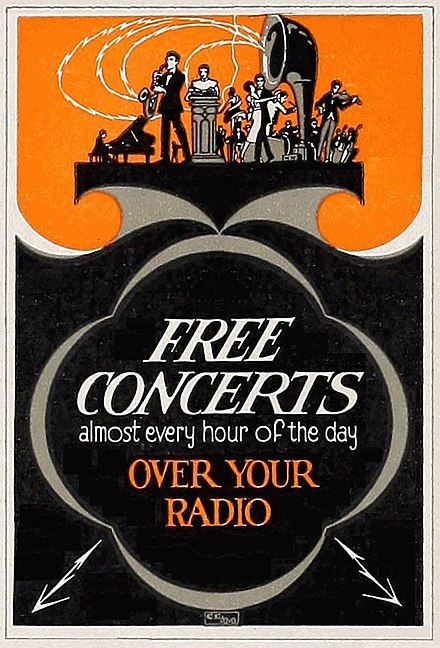 The radio transformed listening habits after 1920 'Free Concerts' Radio Dealer poster (1922).jpg