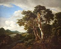 'Three Great Trees in a Mountainous Landscape with a River' by Jacob van Ruysdael.JPG