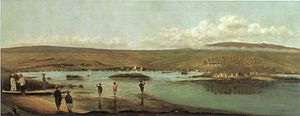 "Joseph Nāwahī - ""View of Hilo Bay"", oil painting 1888, Kamehameha Schools, Honolulu"