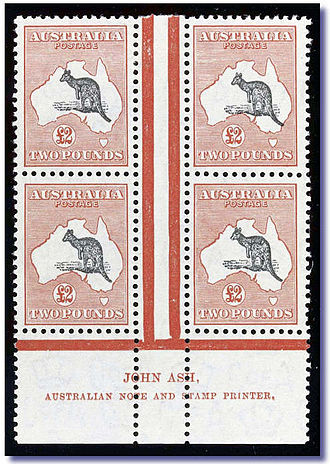 Selvage - Part of a sheet of postage stamps from Australia showing selvage at the bottom.
