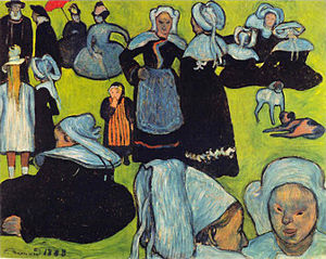 Cloisonnism - Image: Émile Bernard 1888 08 Breton Women in the Meadow (Le Pardon de Pont Aven)