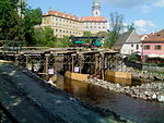 Český Krumlov, Jelení lávka, rekonstrukce jezu a lávky (003).JPG