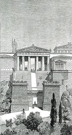 Τα Προπύλαια της Ακρόπολης της Αθήνας, όπως ήταν στην αρχαιότητα - Falke Jacob Von - 1887.jpg