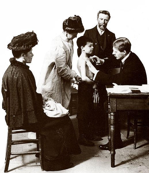 Medical examination before entering the school. Beginning of the twentieth century.
