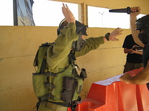 Krav Maga - IDF soldier sparring in full combat gear